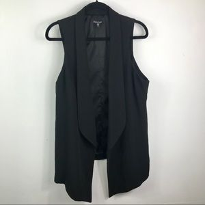 Eileen Fisher black angled front open long vest